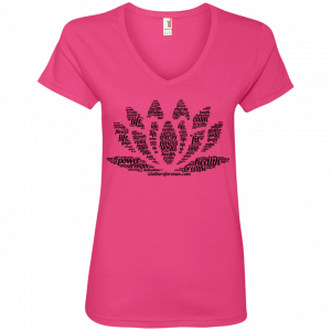 Lotus Flower V-Neck Ladies Shirt